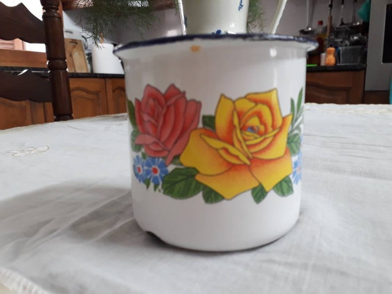 The kitchen Shabby Chic Rose Decor Couple of metal mugs Vintage Glazed Tea mugs Vintage Home Decor