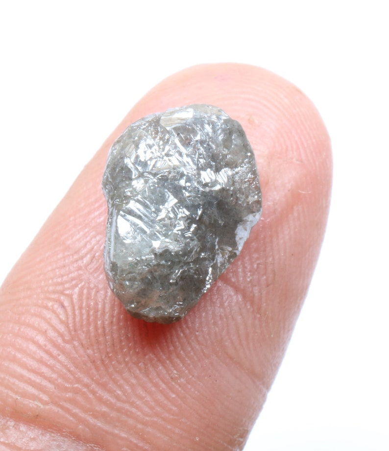 4.48 ct 12.3 x 9.0 mm Natural Loose Grey Color Rough and Raw Diamond  D61