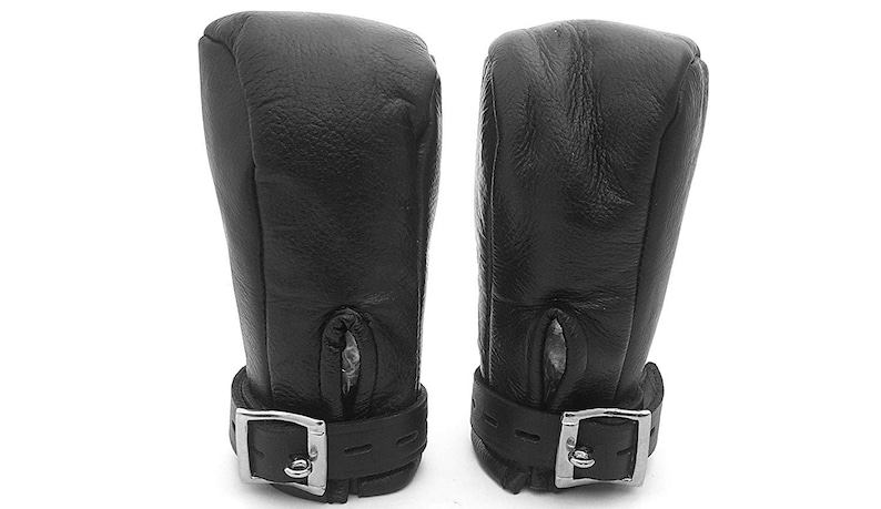Bondage Fist Mitts Gloves Real Black Red or White Leather Padded Lined
