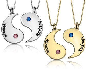8b2fed230 Personalized Yin and Yang Couple necklace, Sterling Silver Yin Yang Necklace,  Yin Yang Jewelry, Couple Necklace Set, His and her Gift