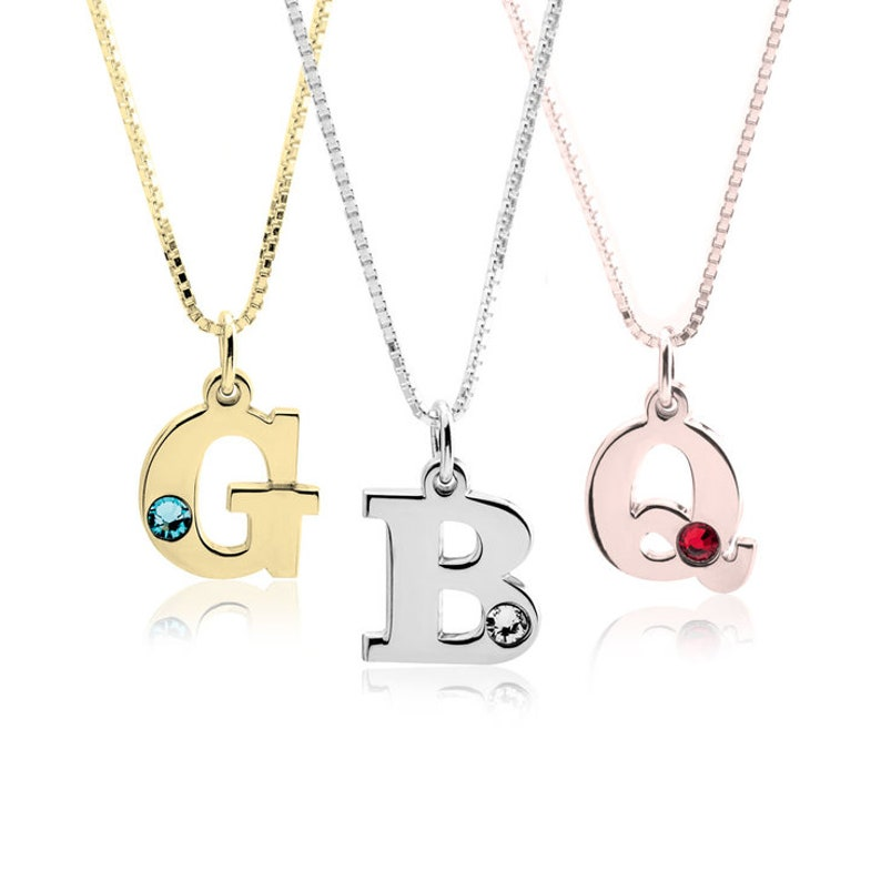 050f337682488 Personalized Initial Birthstone necklace, Swarovski Birth Stone, Initial  Necklace, Personalised Jewellery, Swarovski Single Letter Pendant