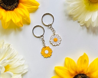 gold Hand stamped brass  flower bouquet key chain tassel key ring wild flowers group gifts team gift inspirational gift
