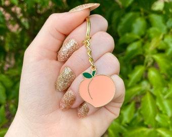 Gold Peach Keychain - Cute Emoji/ Kawaii Fruit Key ring
