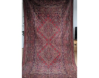 Antique European rug, large,  Persian Oriental, wool woven wall decor boho eclectic, tapestry