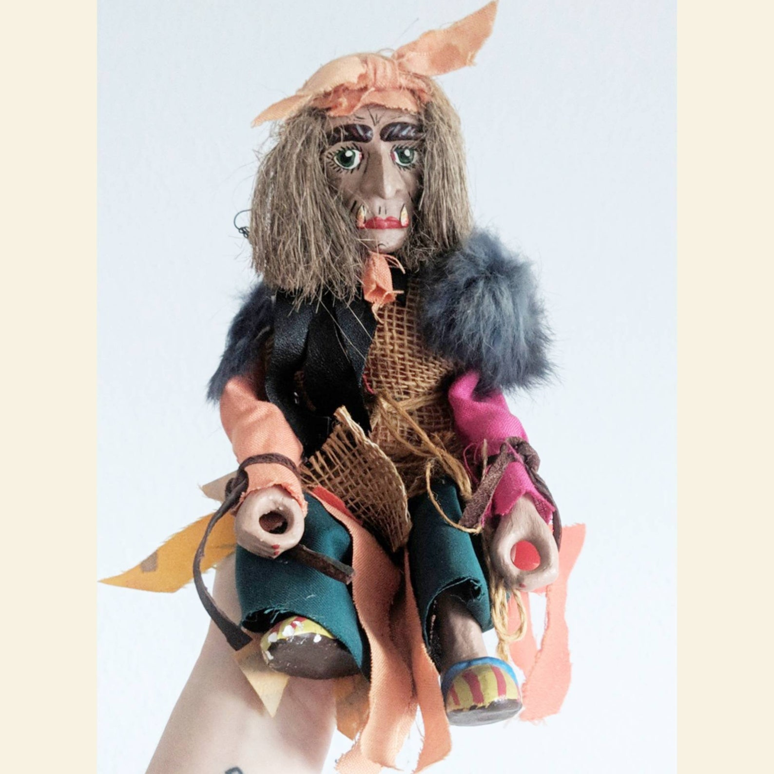 Folk art witch doll, Germany, ceramic hand painted berchta, fairytales folklore