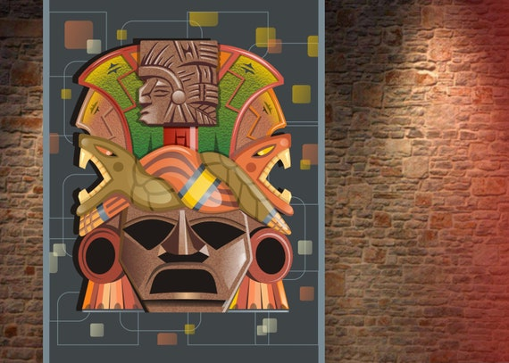 Aztec Jaguar God Art Print Mayan Wall Decor