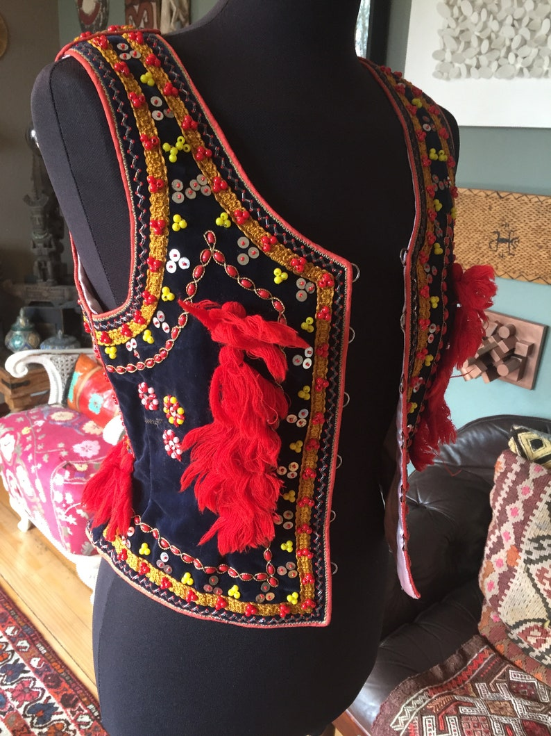 boho waistcoat Bohemian vest hippie vest sequin embroidered Polish traditional folk dance costume ethnic