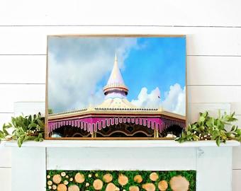 DISNEY CAROUSEL PRINT // watercolor print // printable wall art // digital download // disney watercolor // art print // disney photo