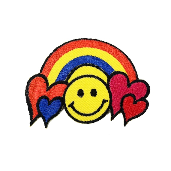 Cute Pretty Colorful Rainbow Heart Embroidered Iron on Patch Free Shipping