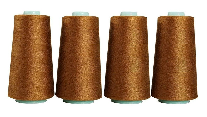 4 Pack of 6000 Yards White Serger Sewing Thread All Purpose Polyester Spools overlock Cone 24000 Total