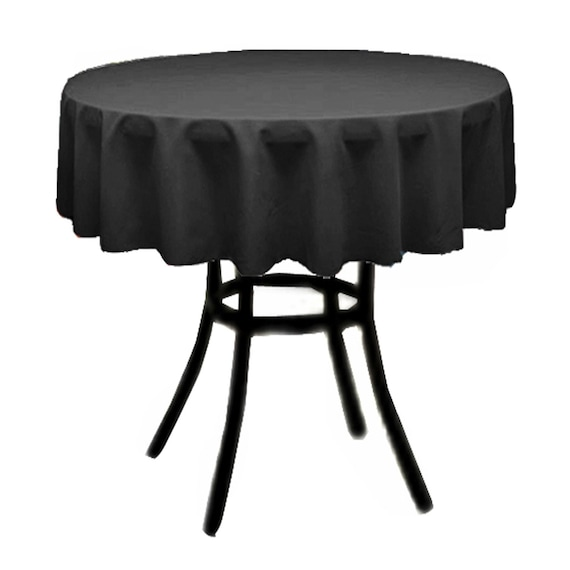 Black outdoor decorations Polyester Poplin Tablecloth 51-Inch Round