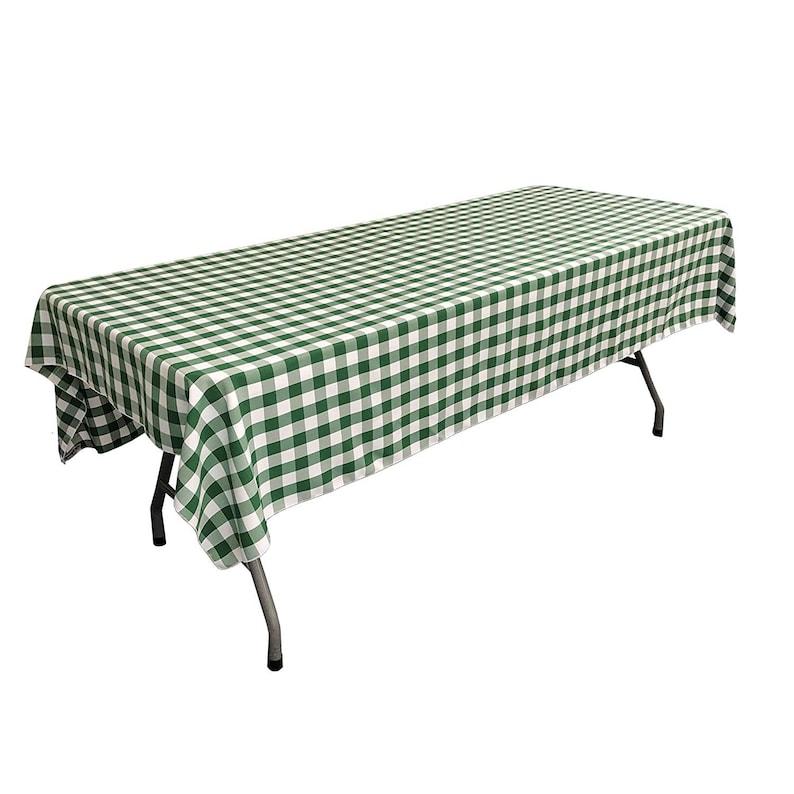 WhiteHunter Green Polyester Gingham Checkered Rectangular Tablecloth 60 x 84