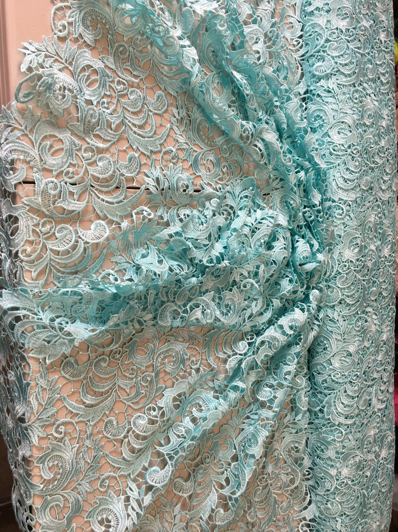 Astonishing Light Weight Guipure Design Prom Nightgown Decorations-Sold by the Yard Light Blue