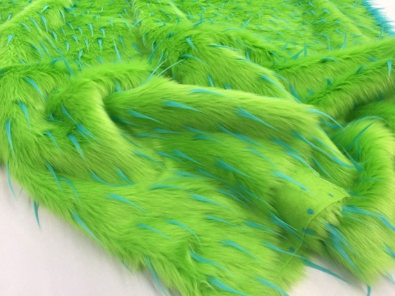 "Faux Fur Long Pile 2 Tone Spike LIME TURQUOISE Fabric Sold BTY 60/"" Wide"