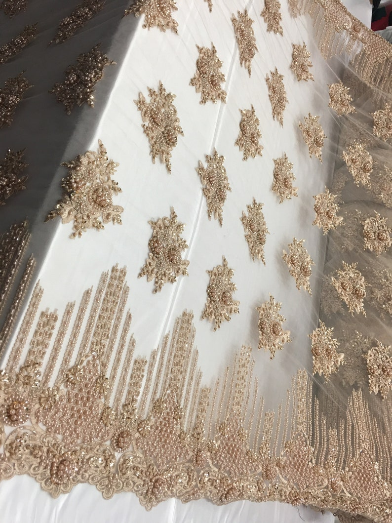 Gold Cathedral French Design Embroider Beaded Mesh Dress For Wedding Decoration Bridal Veil Nightgown Sold By The Yard
