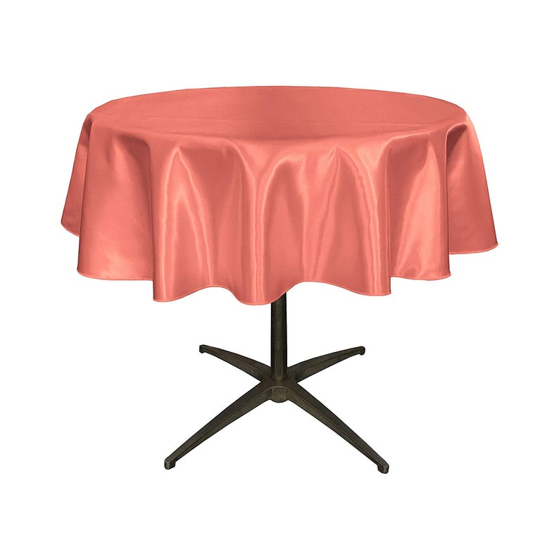 51-Inch 51 Bridal Satin Round Tablecloth Coral