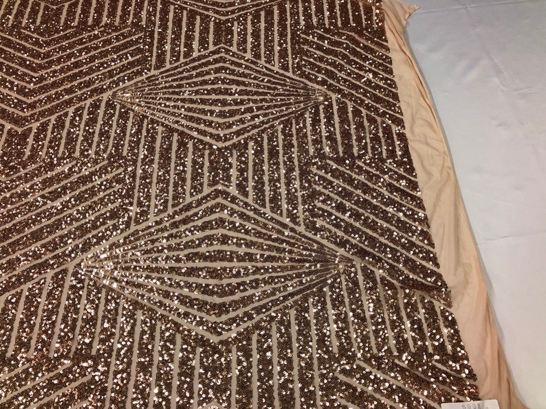 Sold By The Yard Geometric 4 Way Stretch Sequins Fabric Champagne Geometric Diamond Design