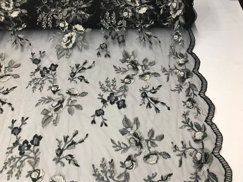 Shop Mesh Lace Fabric FloralFlower Multi-Color Black Embroidered Mesh For Dress Bridal