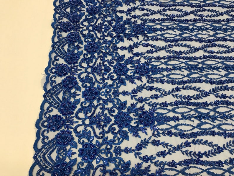 Shop Mesh Lace Fabric Bridal Veil Flower Beaded Fabric By The Yard Royal Blue Lace Beads For Mesh Dress