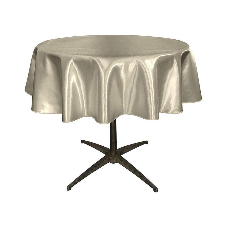 Silver 51 Bridal Satin Round Tablecloth 51-Inch