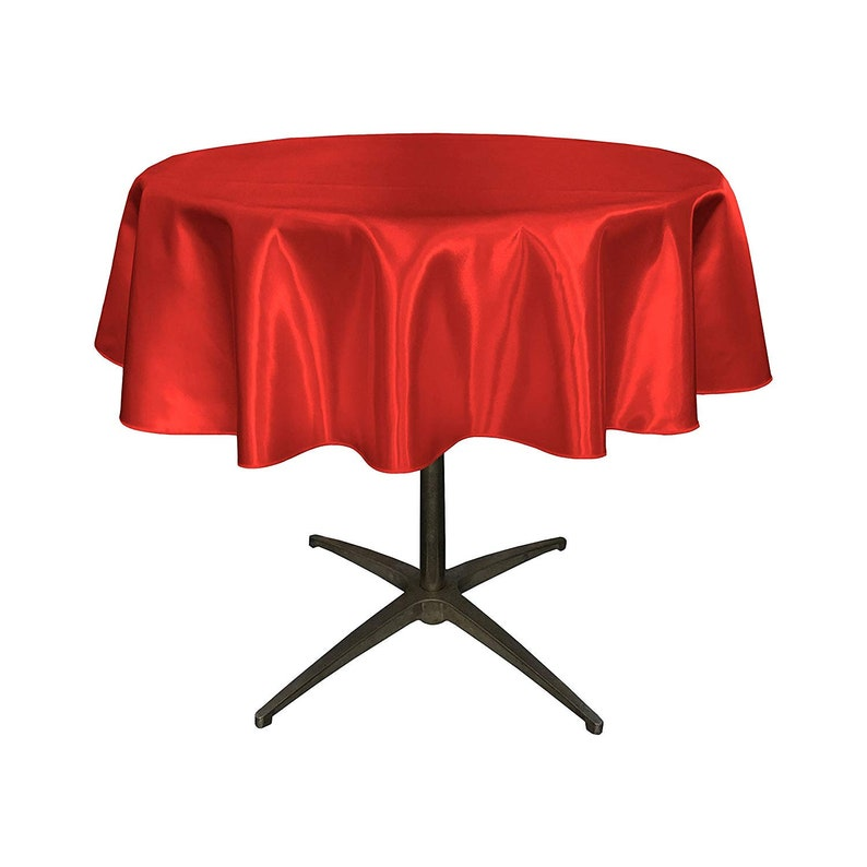 Red 51-Inch 51 Bridal Satin Round Tablecloth