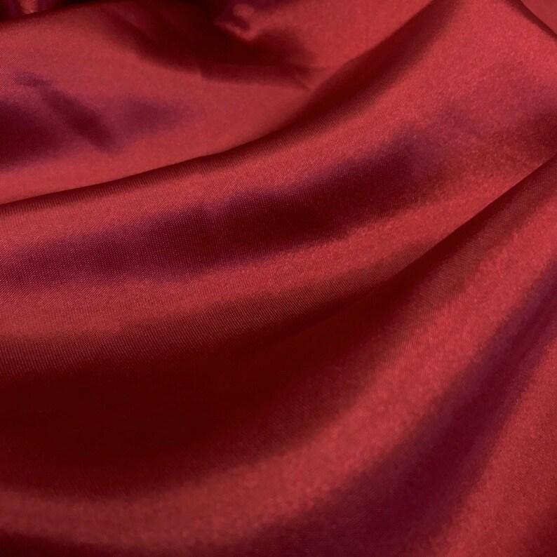 5 YARD, Burgundy Charmeuse Bridal Satin Fabric for Wedding Dress 60 inches By the Yard Charmuse