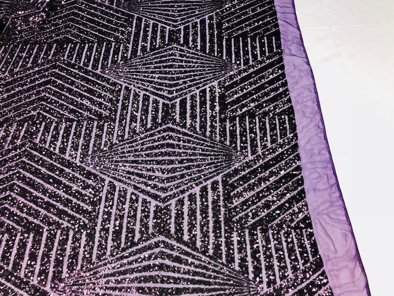 Sold By The Yard Geometric 2 Way Stretch Sequins Fabric Plum Geometric Diamond Design