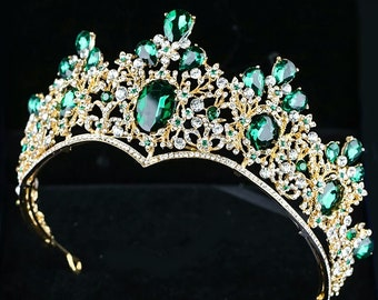 Baroque Vintage Gold Green Crystal Crown Wedding Tiara Rhinestone Pageant  Prom Crowns Bride Headbands Women Hair Accessories 80a699b06794