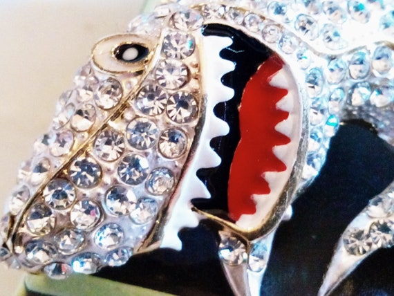 RHINESTONE SHARK BROOCH! Fabulous Sparkling Clear Rhinestones. Enameled Figural, Fish, Pin/Pendant! Gold Tone Setting. Sealife Lover Gift!