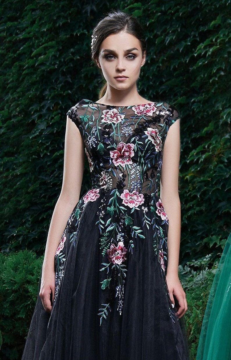 Exclusive Evening Dress,Floral Prom Dress,Bridesmaid A-line Dress,Beautiful Tulle Dress,Long Gown,Dress With Train,Collection 2019