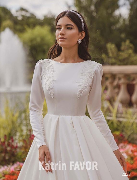 Modest Wedding Dress Satin Wedding Dress Long Sleeve Wedding Etsy,Mother In Law Wore Wedding Dress To My Wedding
