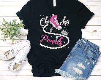 Chucks and Pearls T-Shirt 2021, Inspirational Shirt, Friend Gift, Faith Shirt, Pink Chucks, Unisex & Women's Shirts