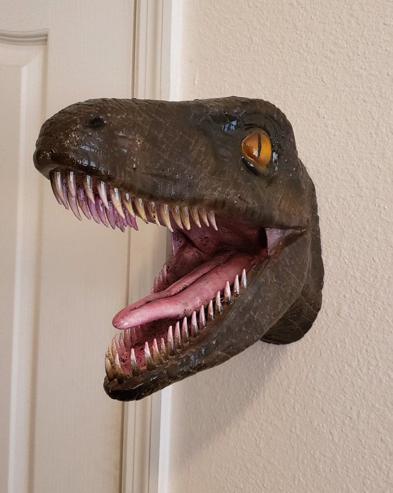 Painted Raptor Head Mount Etsy