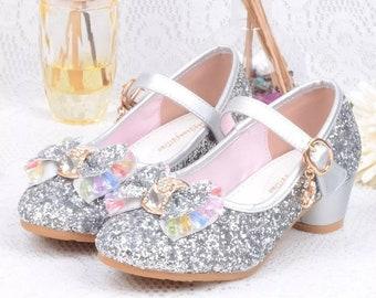 b757df9392fb Bling Glitter Toddler Girls Princess Elsa Frozen Flower Girl Silver Dress  Shoes. Princess Maryjane Girls shoes for Birthday