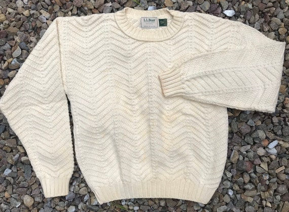 1980s LL Bean Fisherman Sweater, Made in the USA
