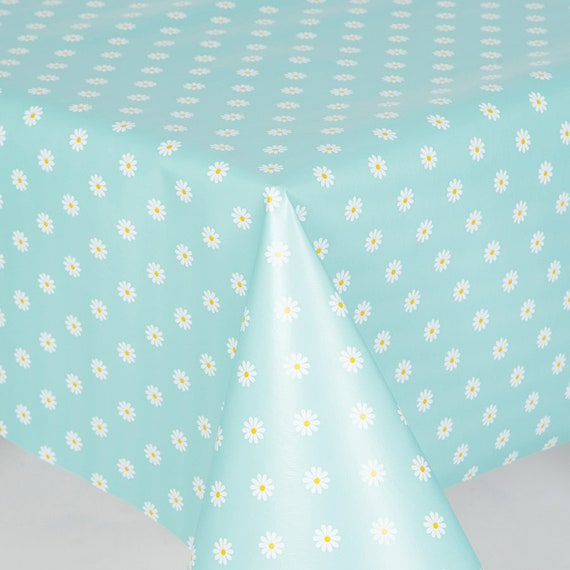Duck Egg Large Leaf Floral PVC Vinyl Tablecloth Wipe Clean Plastic Table Cover
