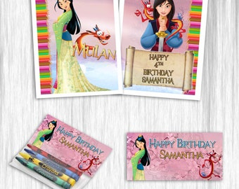 Mulan coloring books with crayons for party favors - 12pack