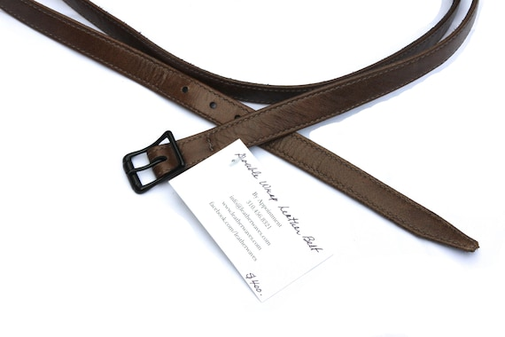 Skinny Double Wrap Brown Leather Belt
