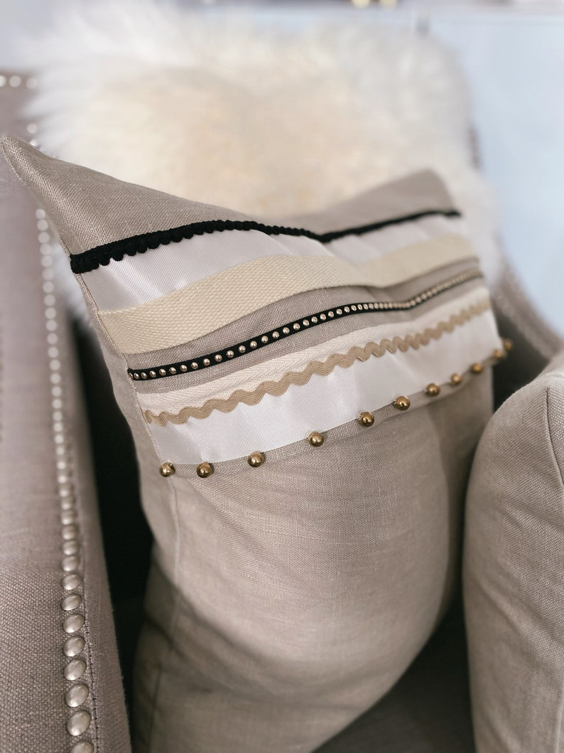 Textured Hand Sewn Linen Cushion. Natural colour lounge image 1
