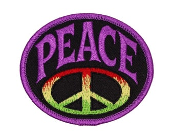 Hippie Love 136-B Peace Signs Flower Power Peace  Embroidered Iron On Patch