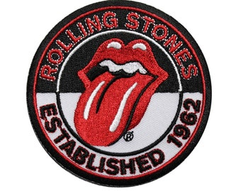 2Pcs The Rolling Stones Flag Canada Big Tongue Sixties Best Rock Bands Music Logo  Badge Embroidered Iron on Sew Patch
