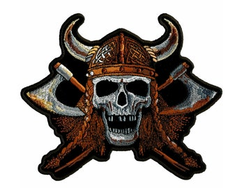 "Viking Skull Embroidered Back Patch 20cm x 13cm 7 3//4/"" x 5 1//4/"""