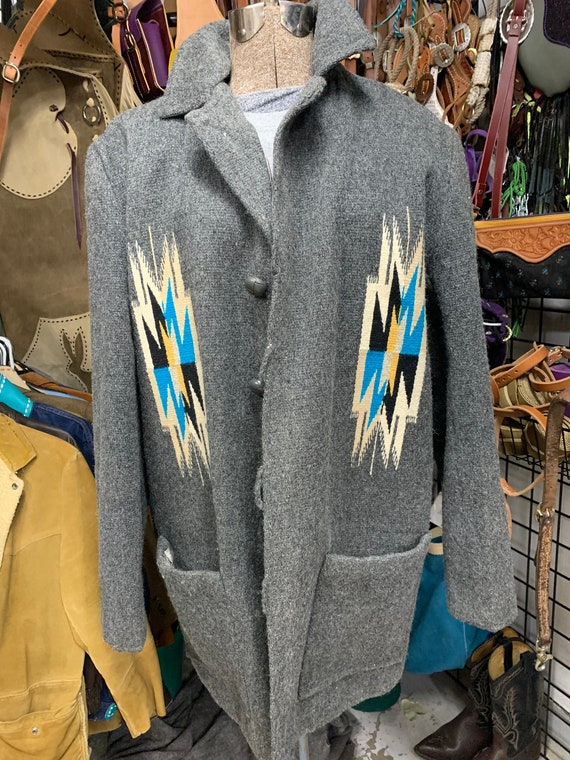 Vintage saddle blanket coat Ortega's chimayo N.M.