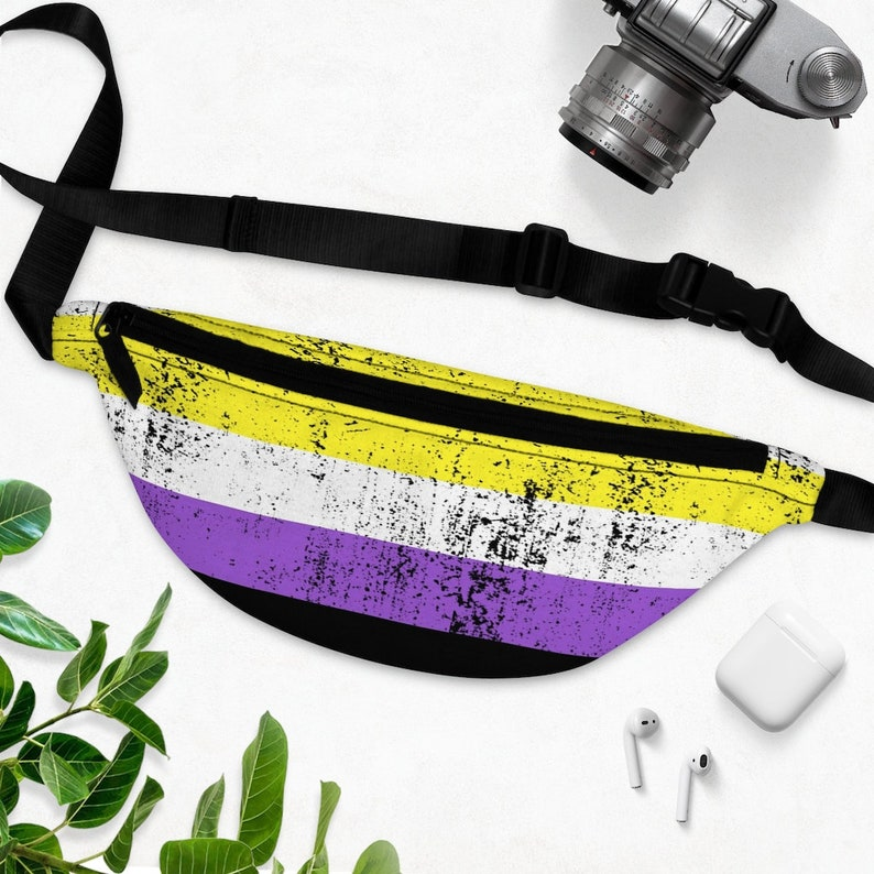Distressed Nonbinary Fanny Pack NB Enby Pride Flag Grunge Style Fanny Pack