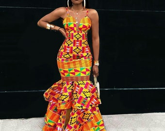 0b829905b0 African Kente Ladies Dress, Prom Africa dress, African clothing,African  fashion, African women's dress, African fabric, Women's African