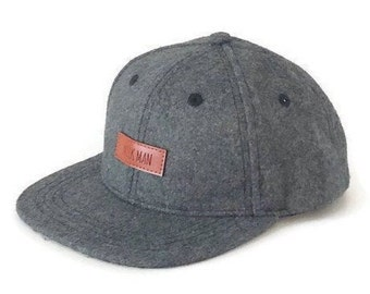 Toddler Kids Youth Snapback Hat   Flat Brim   Grey Wool   Leather Patch