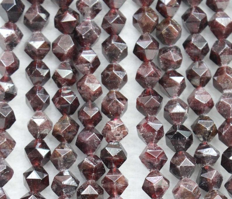 Natural Faceted Garnet Nugget Beads,6mm 8mm 10mm 12mm Natural Star Cut Faceted Garnet beads,one strand 15