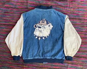 0ca67ce9 Denim varsity jacket | Etsy