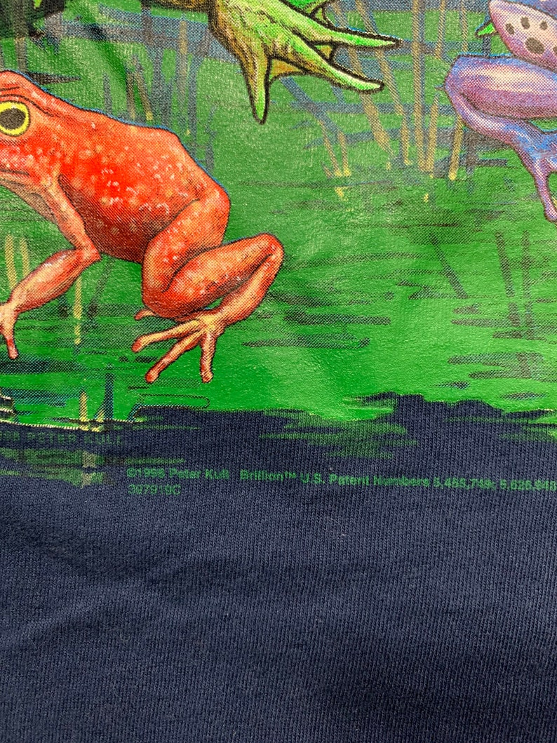 Vintage 90s Frogs t shirt by Nite Calls Size Medium made in USA