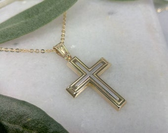 Two colours K14 gold Cross.Baptism yellow and white gold cross.Cross for boy.Baptist gold cross.K14 gold cross.Man's Cross.Christian pendant